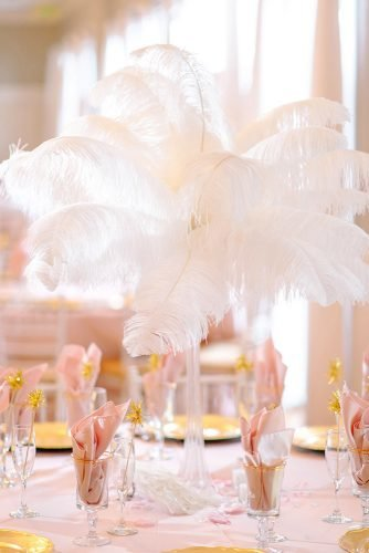 non floral wedding centerpieces tall volume white feathers centerpiece pasha belman photography