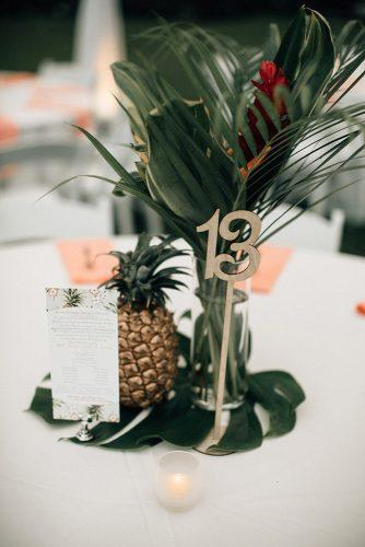 non floral wedding centerpieces tropical with pineapple on big green leaf bethany small