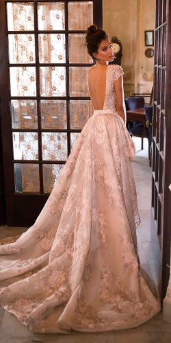 peach blush wedding dresses a line low back lace cap sleeves julie vino bridal