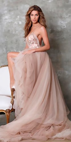 peach blush wedding dresses a line strapless sweetheart neck tulle skirt berta