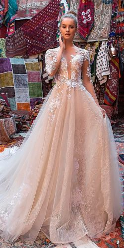 peach blush wedding dresses a line v neck with illusion lace sleeves eva lendel