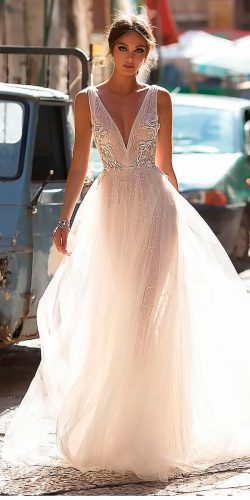 peach blush wedding dresses a line v neckline sleeveless berta