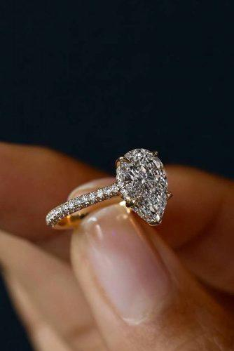 engagement ring trends 2019 rose gold simple pear shaped