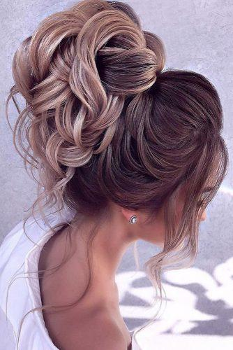 romantic bridal updos wedding hairstyles high with loose curls for lond hair elstilela