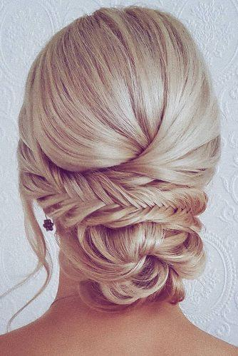 romantic bridal updos wedding hairstyles low bun with braids on blonde hair hairbyhannahtaylor