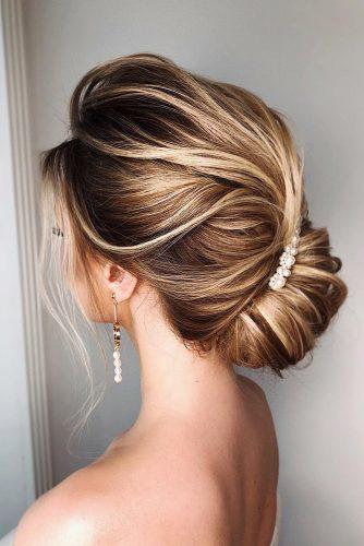 romantic bridal updos wedding hairstyles simple french roww with pearly pin on blonde hair a.shtyrts