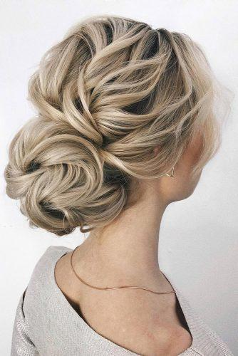 romantic bridal updos wedding hairstyles textured blonde volume bun sasha_esenina
