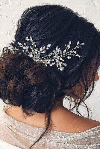 romantic bridal updos wedding hairstyles volume side bun with silver pin hairandmakeupbysteph