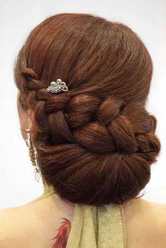 romantic wedding updos braided sleek chignon on dark hair hairandmakeupbysteph