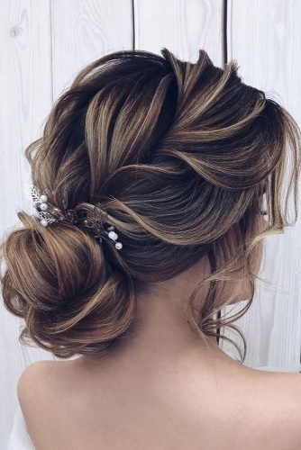 romantic wedding updos weaved crown dutch braid bridal updo with crystal pin milagolubeva