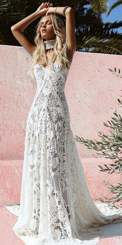 rue de seine wedding dresses boho a line lace sweetheart floral embellishment with train