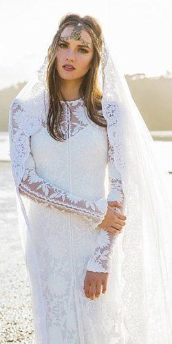 rue de seine wedding dresses boho floral appliques with long sleeves