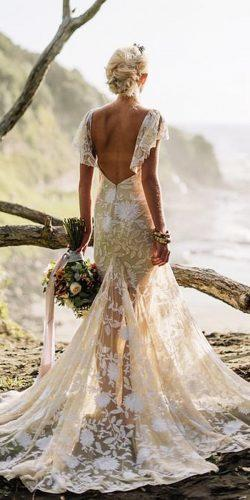 rue de seine wedding dresses boho lace floral embellishment with cap sleeves