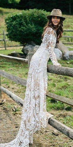 rue de seine wedding dresses boho rustic full lace embellishment long sleeves with train