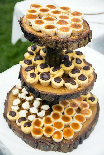 rustic barbecue bbq wedding cakes on a wooden stand olivia christina photography