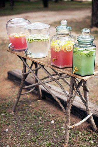 rustic barbecue bbq wedding different kinds of lemonade on a table made of wooden branches easton events