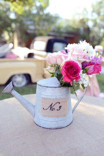 rustic barbecue bbq wedding iron watering can with the number of the table and flowers eureka photography