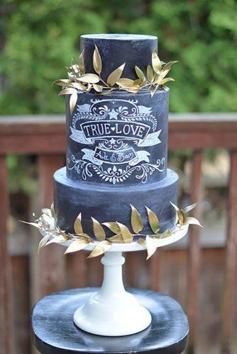 small wedding cakes dark grey cake with gold element artisancakecompany