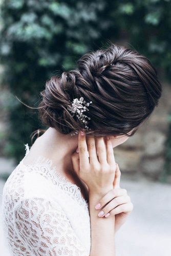 swept back wedding hairstyles braid dark hair m eysmont