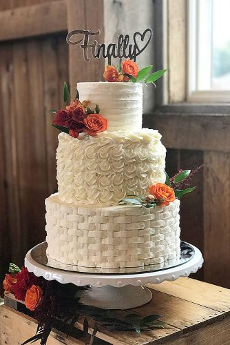 textured wedding cakes white three layer with different texture the couture cakery via instagram