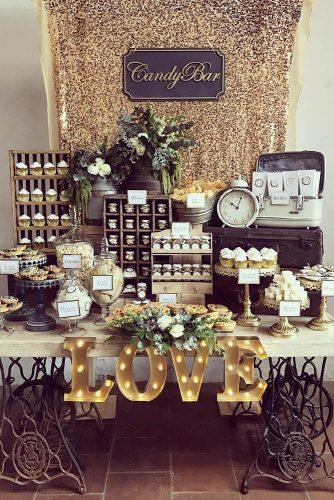 wedding dessert table ideas vintage modern vintage gold candy bar kamalion