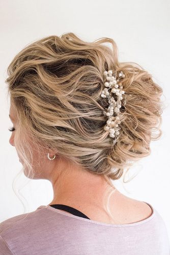 wedding hairstyles for medium hair updo french twist in waves on blond hair with pearls hair and makeup by steph via instagram