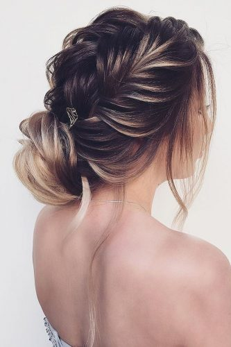 wedding hairstyles for thin hair braided with bun nadigerber