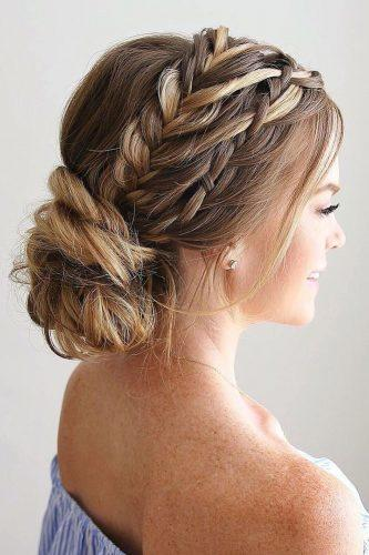 wedding hairstyles for thin hair front braid with low bun missysueblog