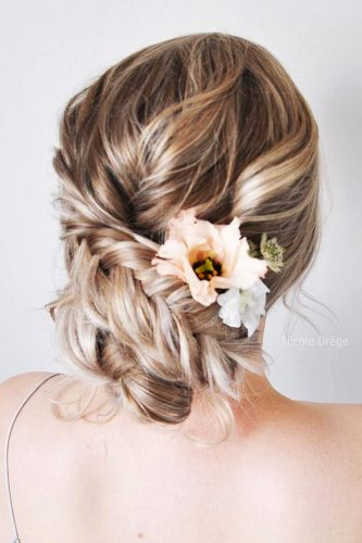 wedding hairstyles for thin hair updo with flowers nicoledrege