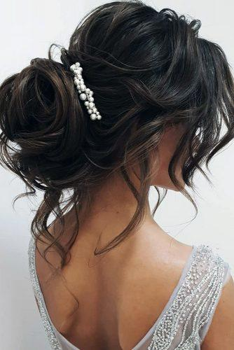 wedding hairstyles medium hair high messy updo with loose curls ksenya_makeup