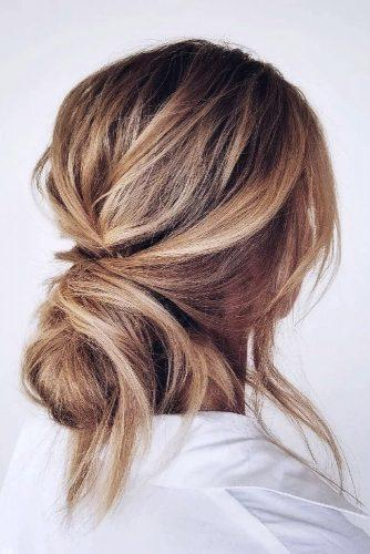 wedding hairstyles medium hair messy low updo loose on blonde bride ashandcobridalhair