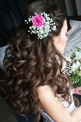 wedding hairstyles with flowers long curly hair lyubov nevskaj