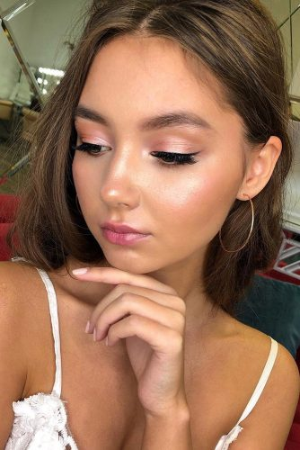 wedding makeup looks fresh warm pink tones with elegant arrows tatyanarichchi