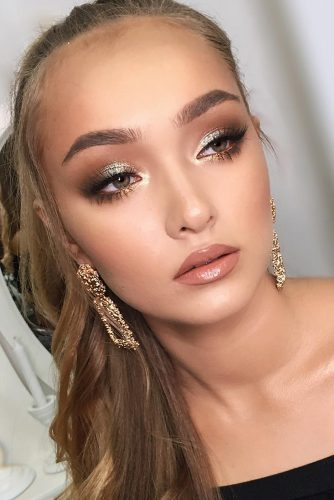 wedding makeup looks soft nude lips with sparkling eyeshadows mariyakalashnikova_