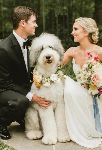 wedding pets bride groom big white dog peonies andlace