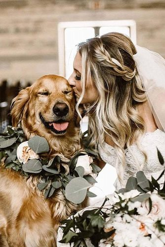wedding pets bride with dog with flower julietcharms