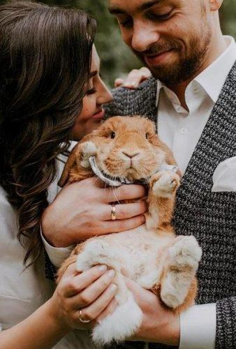 wedding pets couple with rabbit onefabday