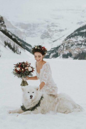 wedding pets happy bride with her favourite pet dog winter darren roberts