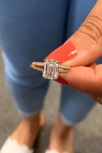 ritani diamond engagement rings emerald cut engagement rings rose gold engagement rings solitaire engagement rings split shank pave band ritani
