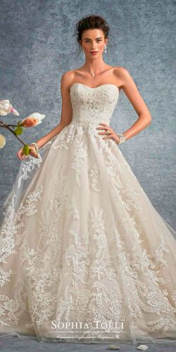 a line lace strapless sweetheart neck sophia tolli wedding dresses 2017