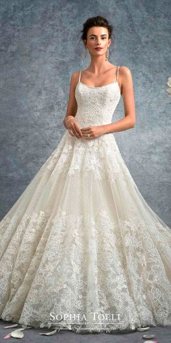 ball gown scoop neck sleeveless lace spaghetti straps sophia tolli wedding dresses 2017