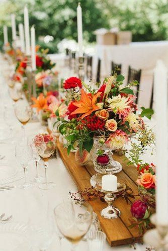 country wedding pallet tablerunner on table with orange flowers love made visible