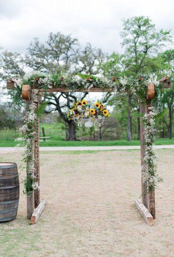country wedding woodland altar with flowers eureka photography