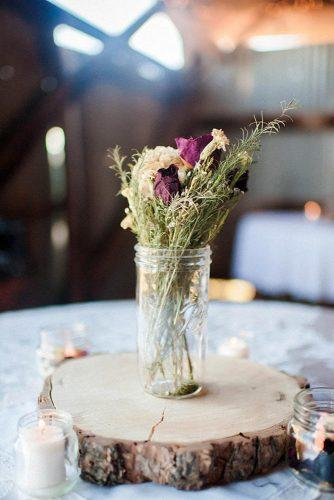 country wedding woodland slice with dry flower centerpiece tony gambino photography