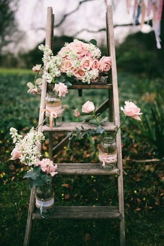 country wedding woodland stairs with pink flowers jen marino photography