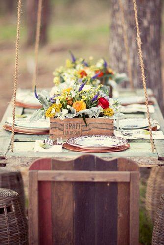 country wedding woodland table with flowers in box jess barfield photography
