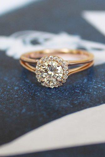 engagement ring rose gold halo round diamond split