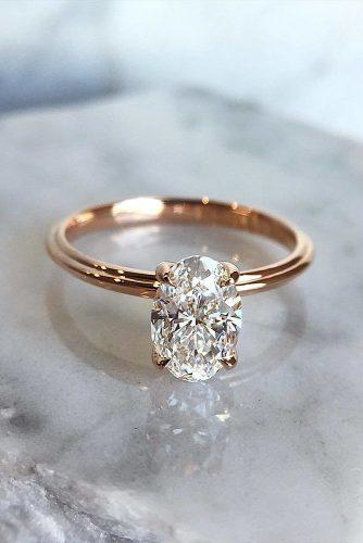 engagement ring rose gold oval diamond solitaire