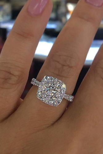 engagement ring white gold halo diamond pave band