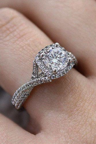 engagement ring white gold round cut diamond twist